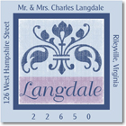 Name Doodles - Square Address Labels/Stickers (Arcadia Blue)